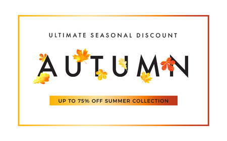 Sale promotion web banner with luxury  autumn . Promo fall season discount layout with fashionable golden leaves elements. seasonal discount template design.