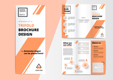 ?orporate presentation trifold brochure design. Creative business proposal or annual report. Vector flyer template with infographics layouts. Startup project advertising leaflet. Illustration