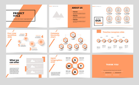 ?orporate presentation slides design. Creative business proposal or annual report. Full HD vector keynote infographics template on black layout. Startup project advertising brochure. Illustration