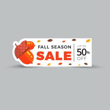 Sale promotion web banner with autumn background. Promo fall season discount label or tag layout with pattern. Vector seasonal discount sticker template design. Illustration