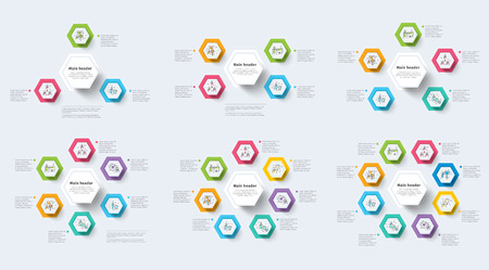Set of clean minimalistic business step process chart infographics with step circles. Company presentation slide template. Modern vector info graphic layout design.