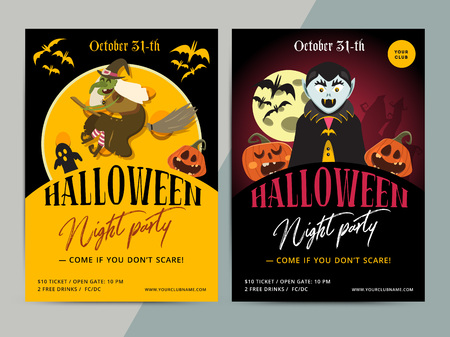 hallow: Happy Halloween party poster template design. All hallow eve flyer in scary cartoon style. All saint holiday club event layout. Vector illustration Illustration