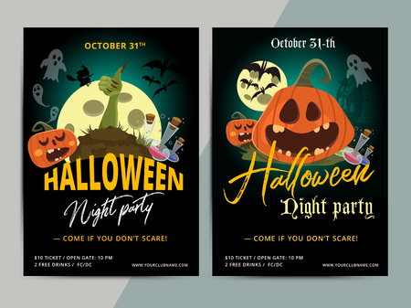 Happy Halloween party poster template design. All hallow eve flyer in scary cartoon style. All saint holiday club event layout. Vector illustration Illustration