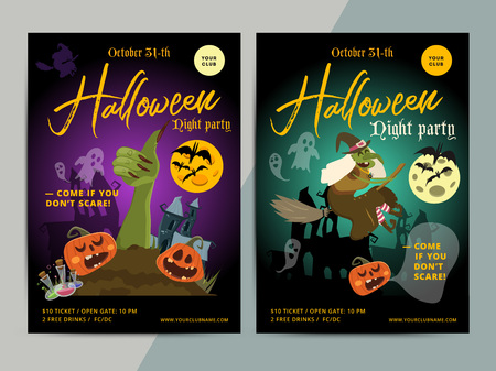 hallow: Happy Halloween party poster template design. All hallow eve flyer in scary cartoon style. All saint holiday club event layout. Vector illustration.