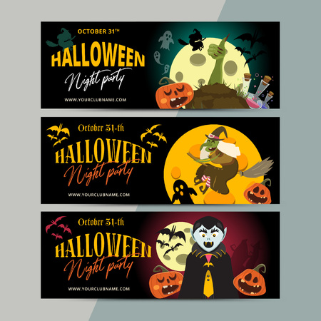 Happy Halloween party ticket template design. All hallow eve invitation flyer or poster in scary cartoon style. All saint holiday club event admission layout. Vector illustration. Illustration