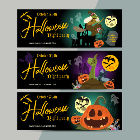 hallow: Happy Halloween party ticket template design. All hallow eve invitation flyer or poster in scary cartoon style. All saint holiday club event admission layout. Vector illustration. Illustration