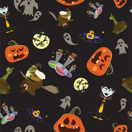 hallow: Halloween party seamless pattern design. All hallow eve repetitive print. All saints holiday repeating background for wrapping paper, apparel, poster, etc. Cartoon vector illustration.