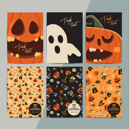 Halloween party cartoon greeting cards. All hallow eve invitation flyer design. All saints holiday background for stickers, posters, wallpapers, layouts, etc. Hand drawn vector illustration. Illustration