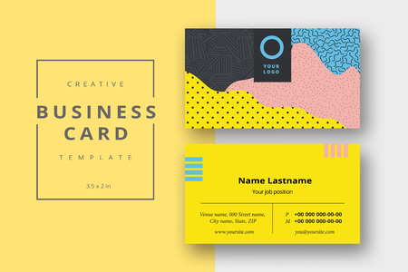 Trendy minimal abstract business card template in memphis style. Modern corporate stationary id layout with geometric lines. Vector fashion background design with information sample name text.