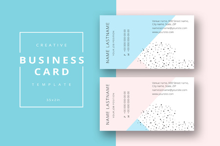 Trendy minimal abstract business card template in pink and blue. Modern corporate stationary id layout with geometric lines. Vector fashion background design with information sample name text. Vettoriali