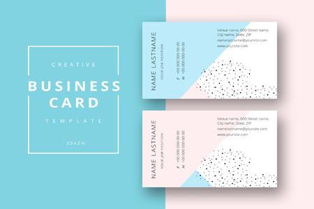 Plantilla de tarjeta de visita abstracta mínima de moda en rosa y azul. Diseño de identificación estacionaria corporativa moderna con líneas geométricas. Diseño del fondo de la moda del vector con el texto del nombre de la muestra de información. Ilustración de vector
