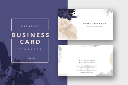 Trendy minimal abstract business card template in beige and blue. Modern corporate stationary id layout with geometric lines. Vector fashion background design with information sample name text. Illustration