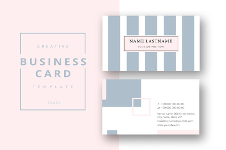 Trendy minimal abstract business card template in pink and grey. Modern corporate stationary id layout with geometric lines. Vector fashion background design with information sample name text.
