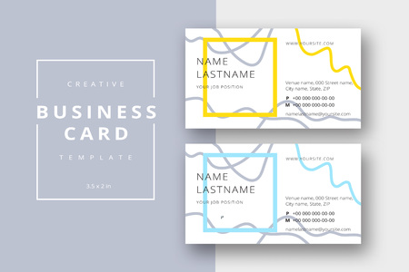 Trendy minimal abstract business card template in yellow and blue. Modern corporate stationary id layout with geometric lines. Vector fashion background design with information sample name text. Illustration