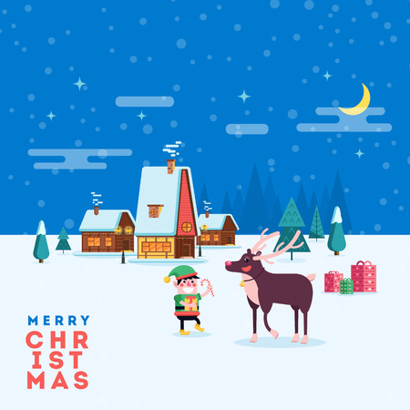 Cute happy smiling cartoon elf and reindeer on winter village landscape background. Christmas holiday decoration for poster or postacrd. Merry Xmas greeting illustration.