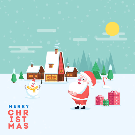 Cute happy smiling cartoon santa and snowman on winter village landscape background. Christmas holiday decoration for poster or postacrd. Merry Xmas greeting illustration.