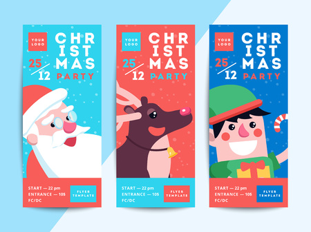 Christmas party flyer template design. Xmas poster in funny cartoon style. Winter holiday club event admission or entrance ticket layout. Vector illustration Illustration
