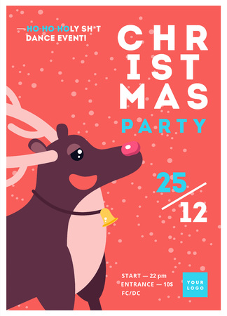 Christmas party poster template design. Xmas flyer in funny cartoon style. Winter holiday club event admission or entrance ticket layout. Vector illustration