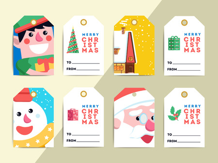 Christmas gift tags template set. Vector printable xmas box or letter labels design. Santa, reindeer, snowman and elf characters badges or cards.