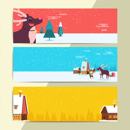 Christmas party flyer template design. Xmas poster in funny cartoon style. Winter holiday club event web banner or entrance ticket layout. Vector illustration Illustration