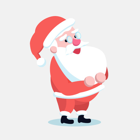 Santa Claus standing straight with his hands on belt. Cute cartoon cheerful and smiling Father Frost character isolated. Flat style vector illustration