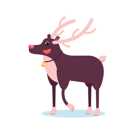 Happy smiling christmas deer cartoon character smiling with raising hoof. Cheerful positive xmas reindeer. Santa caribou vector icon illustration. Holiday elk symbol.
