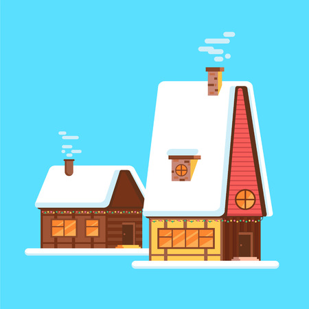 Cute bright cartoon house on winter. Vector winter village huts or buildings facades. European style homes on christmas or xmas eve. Town dwelling front and roof covered with snow. Illustration