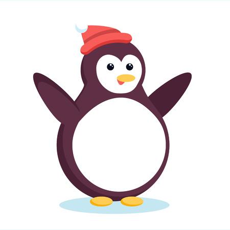 翼を振って、笑ってクリスマスの南極ペンギン。かわいい漫画クリスマス pinguin 赤ビーニー帽子立っていると抱擁のために手を広めます。