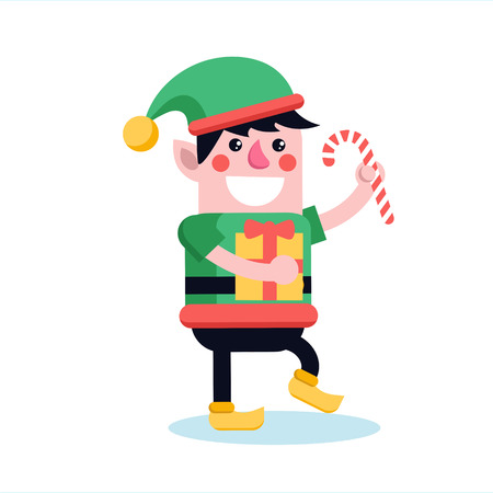 Christmas elf walking and smiling with sweet candy stick. Cute cartoon xmas dwarf in green hat and costume cheerfully marching with gift-box.