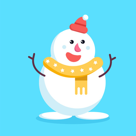 Christmas snowman waving branch hands and smiling. Cute cheerful cartoon xmas snow man in yellow scarf and red beanie hat standing and hugging.