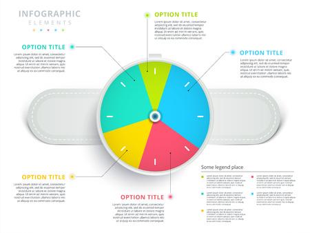 Watch or wristwatch 3 step business process pie chart infographics. Clock corporate workflow circle graph elements. Company flowchart diagram presentation slide template. Vector info graphic design. Illustration