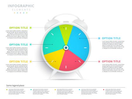 Alarm clock 5 step business process pie chart infographics. Creative corporate workflow circle graph elements. Company editable diagram presentation slide template. Vector info graphic design. Illustration