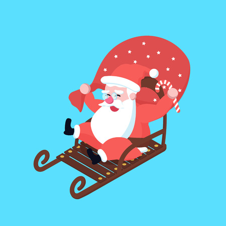 Cute happy fast riding on sleigh cartoon santa claus. christmas holiday character in a hurry on sledge for poster or postcard illustration in flat design.