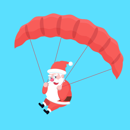 Cute happy fast flying with parachute cartoon Santa Claus. Christmas holiday character jumping with guardian for poster or postcard. Merry Xmas theme illustration in flat design. Illustration