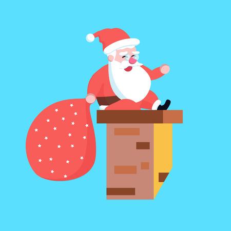 Cute happy cartoon santa claus sitting on chimney stuck or smoke funnel vector illustration Banco de Imagens - 90359064