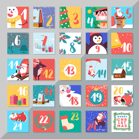 Christmas holiday advent calendar template design merry xmas days countdown game with card decoration vector illustration