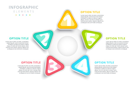 Business steps process chart infographics with triangles triangular corporate graphic elements vector illustration