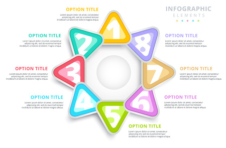 Business 8 step process chart infographics with triangles. Triangular corporate graphic elements. Company infograph presentation slide template. Modern vector process info graphic layout design.  Illustration