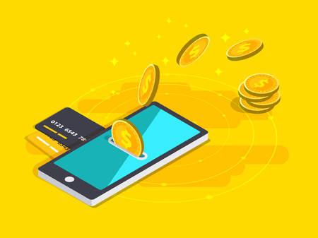 Money transfer via cellphone in isometric design. Illustration