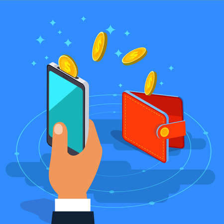 Money transfer from wallet into cellphone in isometric vector design. Digital payment or online cashback service. Mobile banking transaction cocept. Withdraw money with smartphone. Illustration