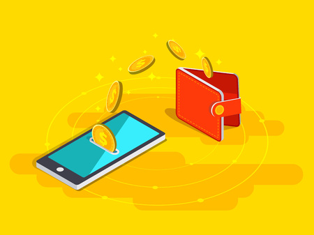 Money transfer from wallet into cellphone in isometric design.