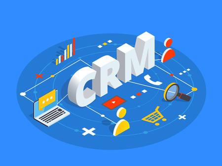 Illustrazione vettoriale isometrica CRM. Priorità bassa di concetto di gestione dei rapporti con i clienti. Approccio di interazione tra cliente e azienda.
