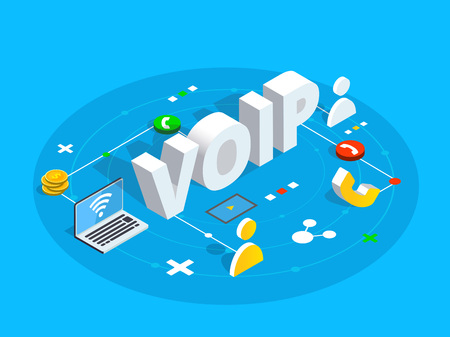 Voip isometric vector concept illustration. Voice over IP or internet protocol technology background. Network phone call software. Vettoriali