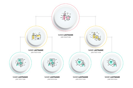 Infografía De Organograma De Jerarquía Empresarial Elementos Gráficos De La Estructura Organizativa Corporativa Plantilla De Sucursales De