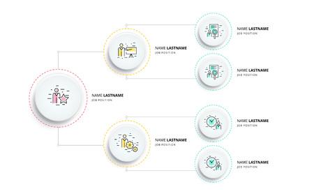 Geschäftshierarchie Organogramm Diagramm Infografiken. Grafische Elemente der Unternehmensorganisationsstruktur. Unternehmensorganisation Filialen Vorlage. Modernes grafisches Baumplandesign der Vektorinformationen.