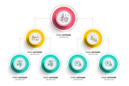 Infografía de organograma de jerarquía empresarial. Elementos gráficos de la estructura organizativa corporativa. Plantilla de sucursales de organización de la empresa. Diseño de la disposición del árbol gráfico de información vectorial moderna. Ilustración de vector
