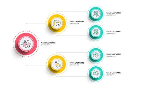 Geschäftshierarchie Organogramm Diagramm Infografiken. Grafische Elemente der Unternehmensorganisationsstruktur. Unternehmensorganisation Filialen Vorlage. Modernes grafisches Baumplandesign der Vektorinformationen. Standard-Bild - 91519063