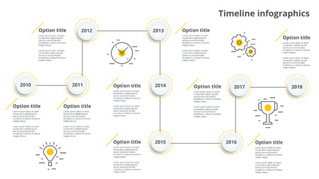 Linear business timeline workflow infographics. Corporate milestones graphic elements. Company presentation slide template with year periods. Modern vector history time line design.