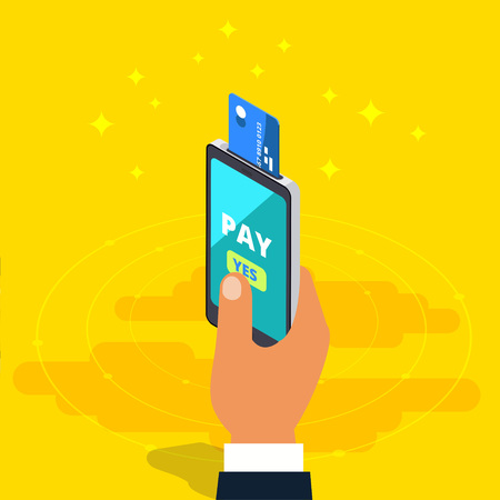 Money transfer via cellphone in isometric vector design. Digital payment or online cashback service. Mobile banking transaction cocnept. Withdraw money with smartphone.