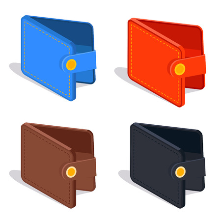 Leather wallet isometric vector icon design in red, blue, brown and black color. Purse case for money, credit cards or documents.